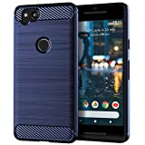 EGALO Google Pixel 2 Case, Slim Thin Carbon Fiber TPU Shock Absorption Anti-Scratches [Anti-Fingerprint] Flexible Protective Cases Cover for Google Pixel 2 (Navy) (Color: Google Pixel 2 Case (Navy))