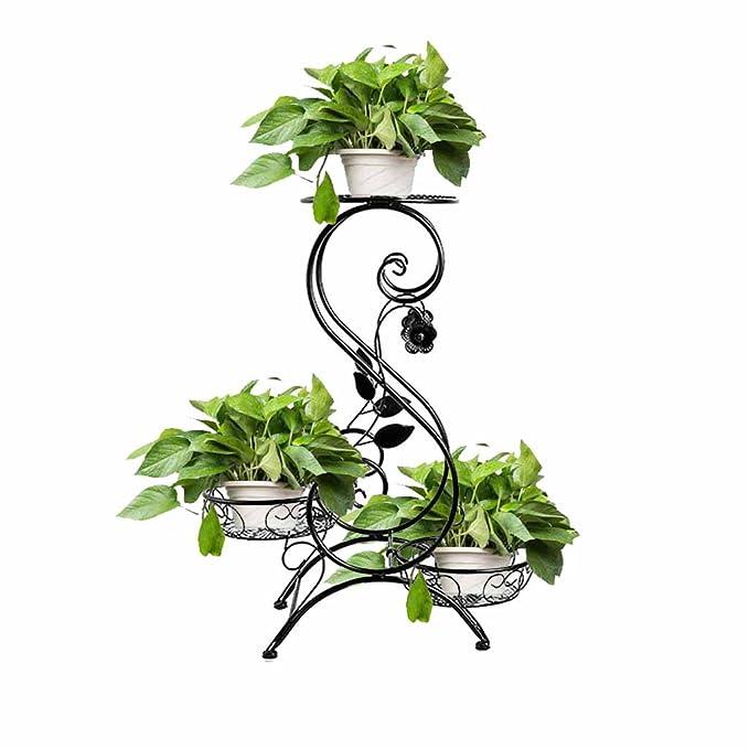 DHMHJH Soporte de flores Nevera de metal europeo de 3 plantas ...