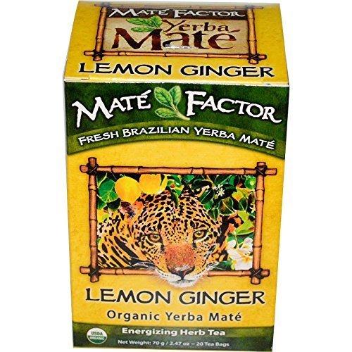 Organic Yerba Mat?, Lemon Ginger, 20 Tea Bags, 2.47 oz (70 g) by Mate Factor