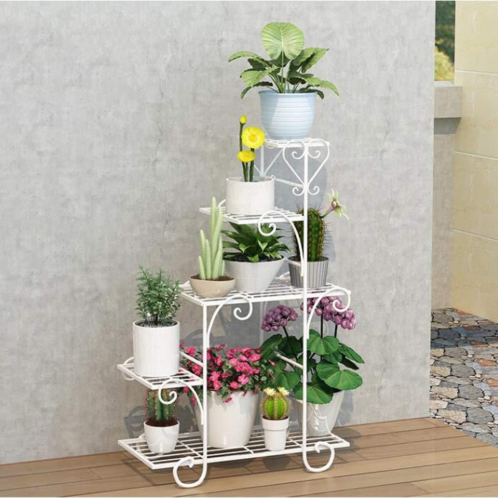 LRW Iron Flower Rack, Multi-Storey Indoor Balcony, Shelf, Meat Room, Floor Type Green Flower Flower Rack, White. (Size : S)