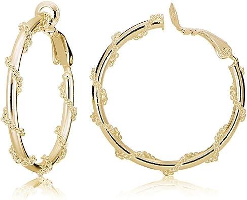 Solitaire Gold Hoops Polished Hoop Earrings 3.0 x 25mm Gold Hoop Earrings Gold Earrings 14K Gold Earrings Polished Gold Hoop Earrings