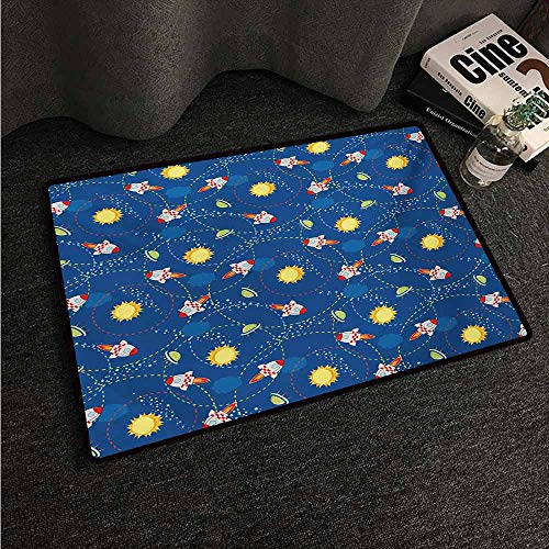 (HCCJLCKS Interior Door mat Space Cute Little Cartoon Rocket with Circular Flight Path and UFOs Sun Polka Dots Skyline Country Home Decor W20 xL31)