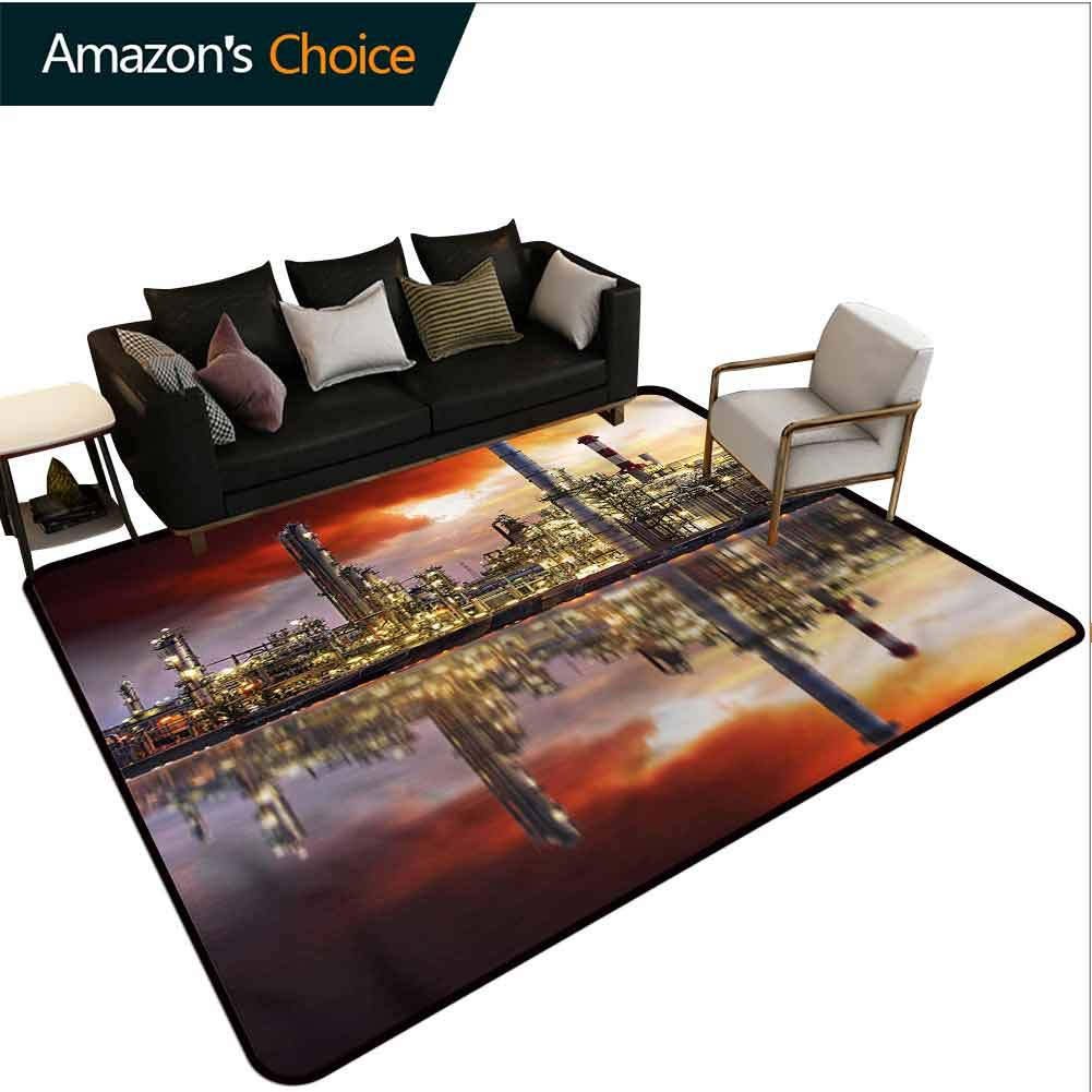 TableCoversHome Industrial Fruit Extra Large Area Rug, Oil Refinery Pattern Printing Carpet, Fashionable High Class Living Dinning Room (3'x 5') by TableCoversHome