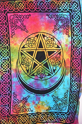 Jaipur Art - Traditional Jaipur Pentagram Celtic Art Tapestry, Indian Poster, Bohemian Wall Hanging, Hippie Dorm Room Decorations, Gypsy Wall Art