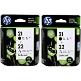 HP 21-22 Combo Inkjet Print Cartridges (Black/Tri-color) Pack of 2
