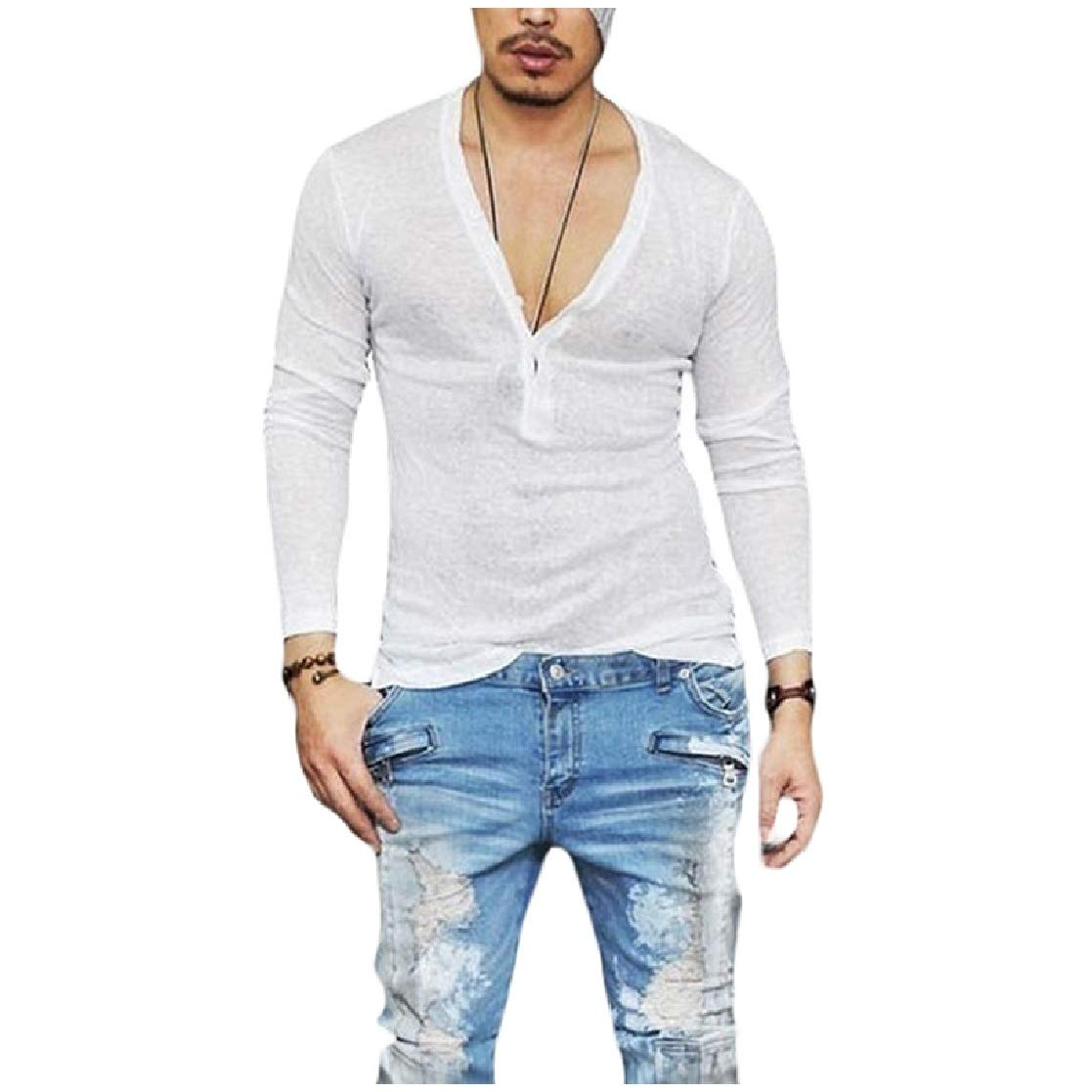 YUNY Mens Pullover Long Sleeve V Neck Breathable Causal Cozy T-Shirt White S