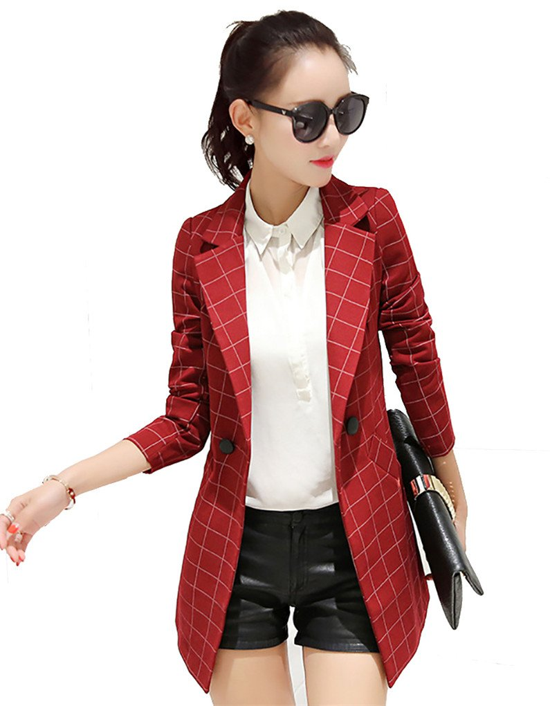 My Wonderful World Women's Juniors Work Office Blazer OL Long Sleeve Business Blazers Plaid One Button Red Jacket US 4