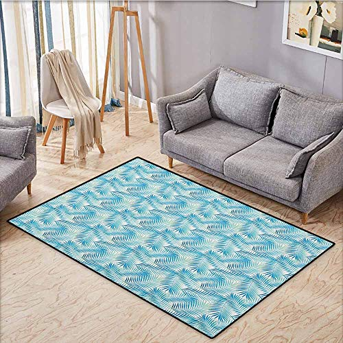 (Large Area Rug,Jungle,Miami Forest Palm Tree Leaves in Pastel Colors Watercolor Foliage Ecology,Anti-Static, Water-Repellent Rugs,3'11