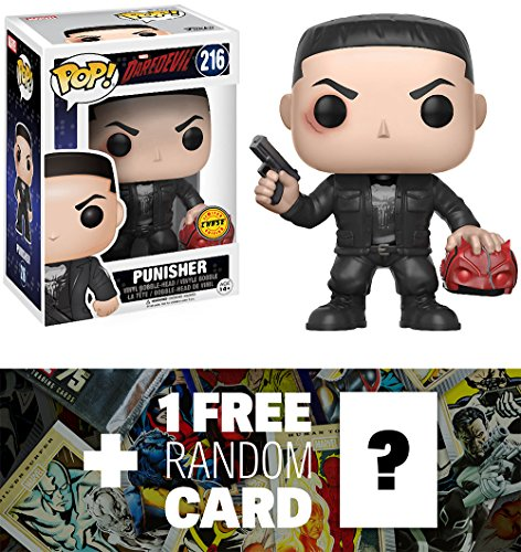 Punisher (Chase Edition): Funko POP! Marvel x Daredevil Vinyl Figure + 1 FREE Official Marvel Trading Card Bundle (11092)