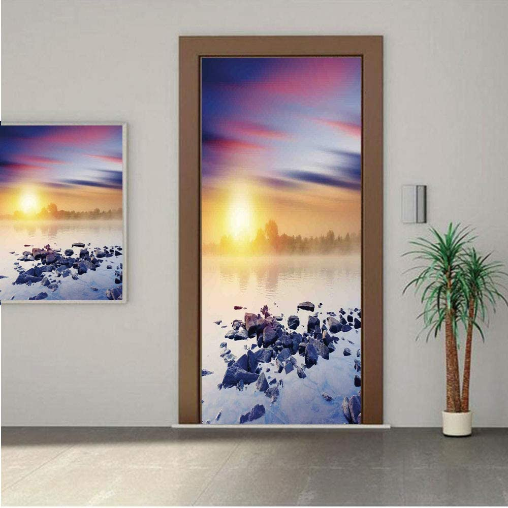Ylljy00 Lake House Decor Door Wall Mural Wallpaper Stickers,Magic Summer Sunset in The River with Northern Sky Rocks Universe Art Photo 30x80 Vinyl Removable Decals for Home Decoration