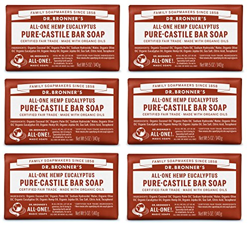 Dr. Bronner's Magic Soaps Pure-Castile Soap, All-One Hemp Eucalyptus, 5-Ounce Bars (Pack of 6)