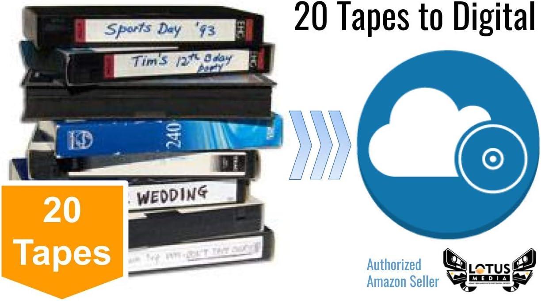 20 Pack - Video Tape Transfer and Digitization to MP4 Service (VHS, Hi8, MiniDV, Digital8, VHS-C, U-Matic, Beta, Audio) by Lotus Media