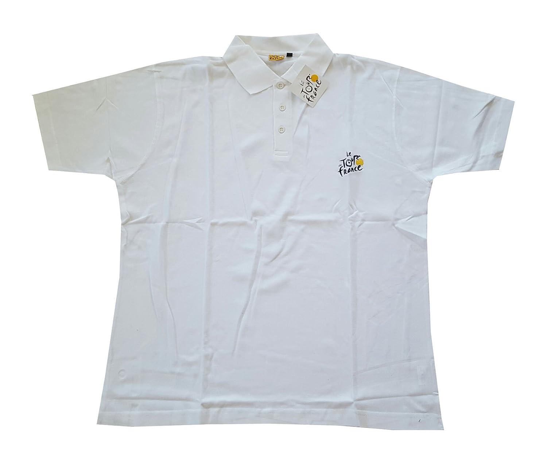 Supportershop Tour de France Polo Homme, Blanc, FR : M (Taille Fabricant : M)