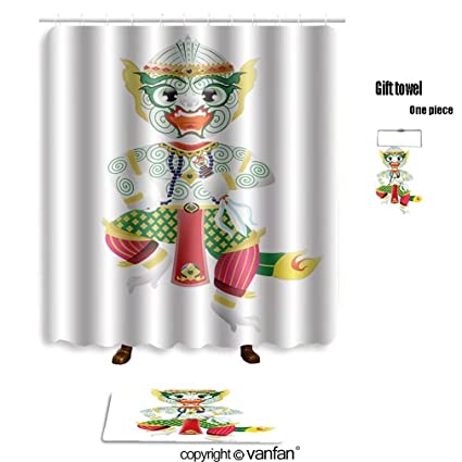Vanfan Bath Sets Polyester Rugs Shower Curtain Hanuman Monkey In Thai Style  274012019 Shower Curtains Sets