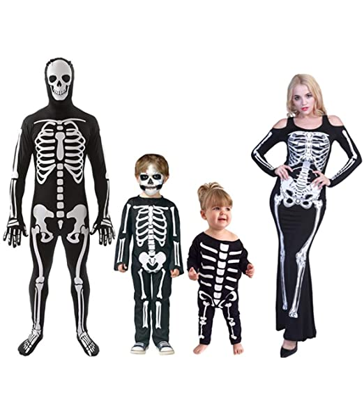 Halloween Skeleton Costume Kids.Amazon Com Baonmy Kids Adults Family Matching Halloween