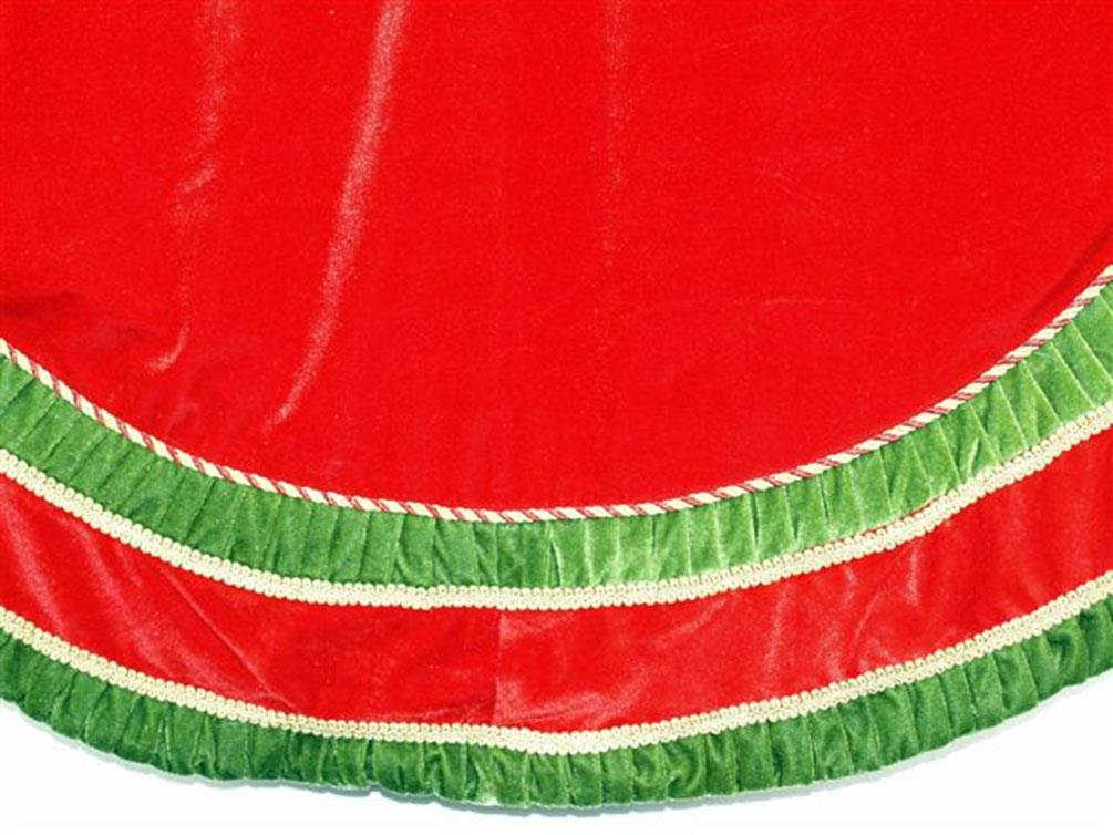 Season's Designs Red Velvet Tree Skirt, Green Pleated and Gold Trimming, 72'' Wide