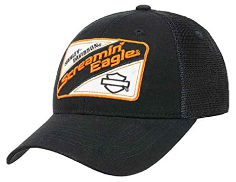 f0f28b8519d Image Unavailable. Image not available for. Color  Harley-Davidson Mens  Screamin  Eagle Mechanic Trucker Snap Back Cap HARLMH030700 Black