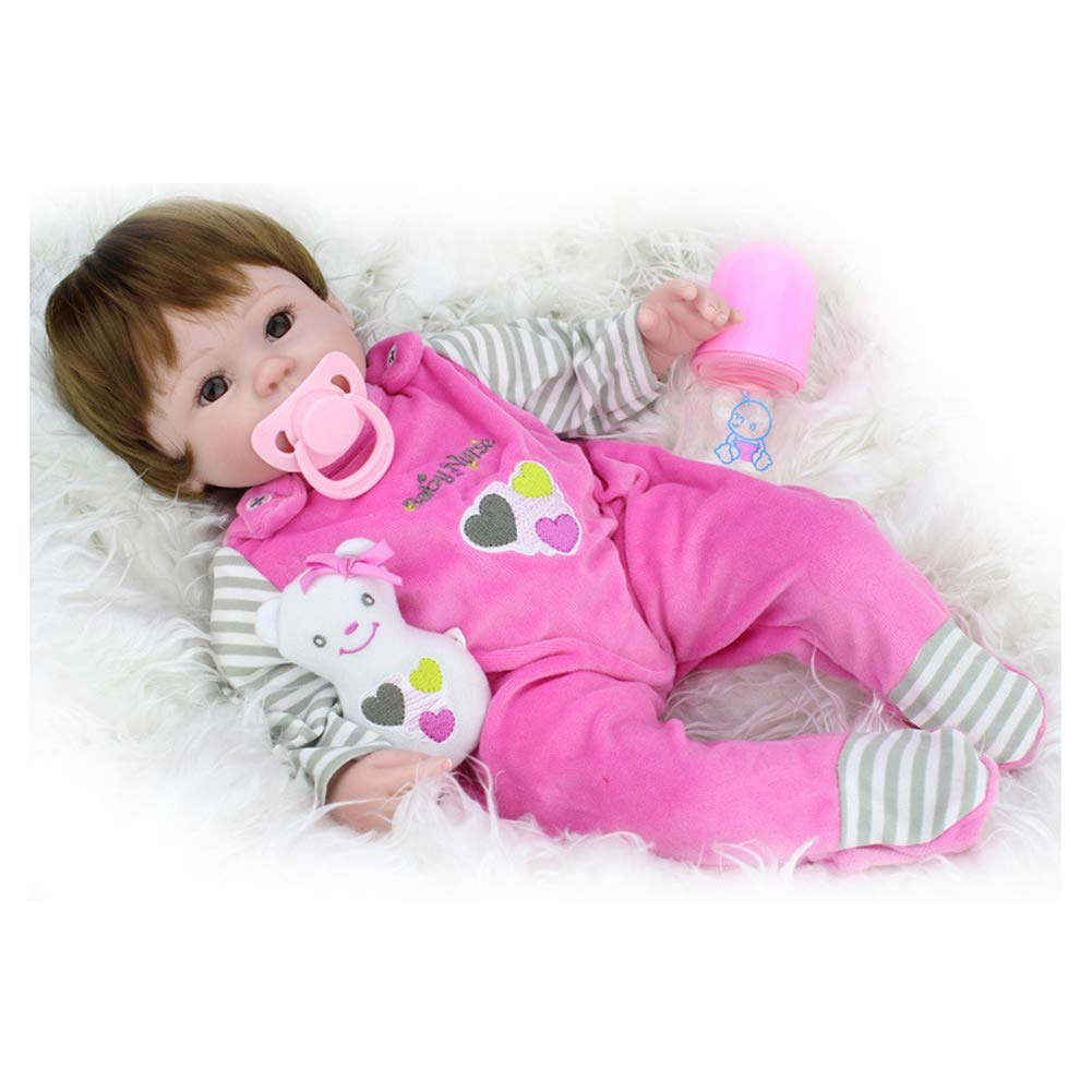 IIWOJ Reborn Baby Doll, Bel Silicone Vinyl 17,72 Pollici Doll-Realistico Neonato Safe/Ragazza Regali