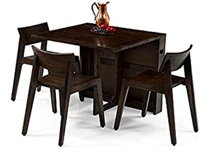 Santosha Decor Solid Wood 3 Seater Folding Dining Table Set With 3