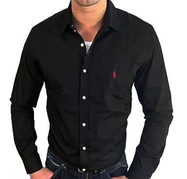 f6f71350968db Polo Ralph Lauren - Chemise manches longues - Couleur noire - Logo   quot Small Pony quot