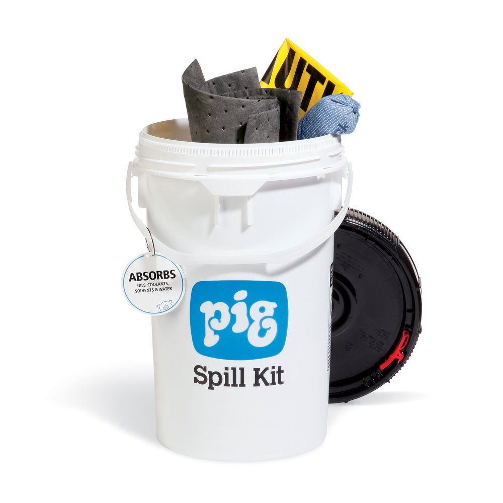 Spill Kit in Bucket, Absorbs Oils, Coolants, Solvents & Water, 4-Gal Absorbency, Fast Spill Response, New Pig KIT213