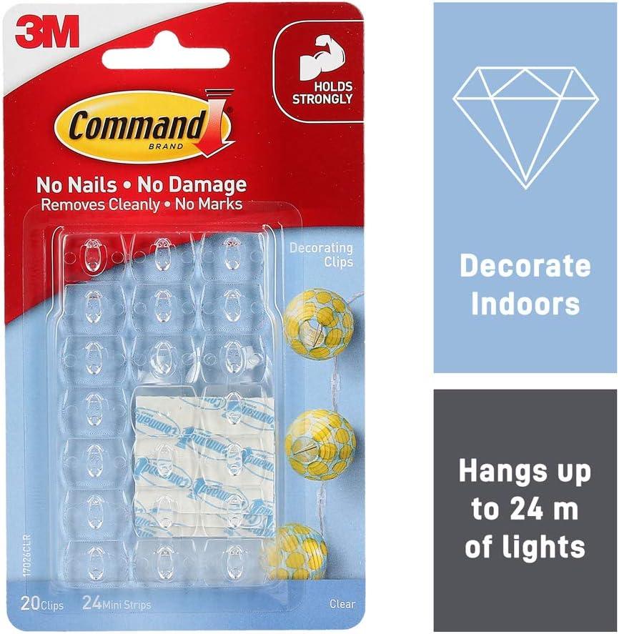 Command 17026CLR-ES DecoratingClips,Clear,20-Clips