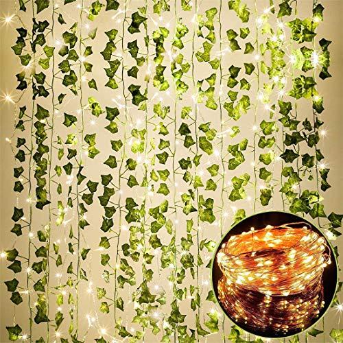 84 FT Artificial Ivy 12 Pack Ivy Vine Garland Ivy Leaves Greenery Garlands Hanging with 100 LED String Light Fake Leaf…