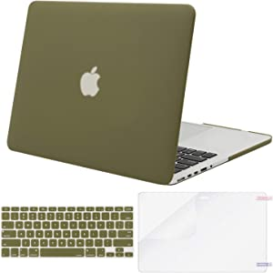 MOSISO Case Only Compatible with Older Version MacBook Pro Retina 13 inch (Models: A1502 & A1425) (Release 2015 - end 2012), Plastic Hard Shell Case & Keyboard Cover & Screen Protector, Capulet Olive