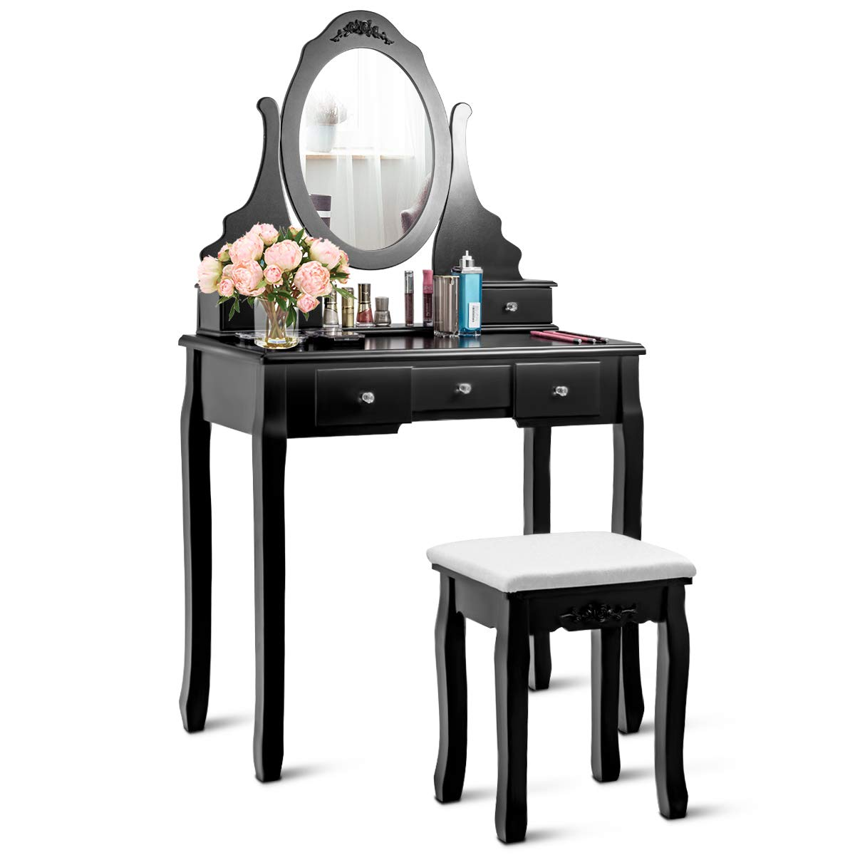 Giantex Vanity Set with Oval Mirror Cushioned Stool, Makeup Dressing Table Large Storage with 5 Drawers, Mirrored Bedroom Vanities Makeup Table for Kids Girls Women, Easy Assembly, Black