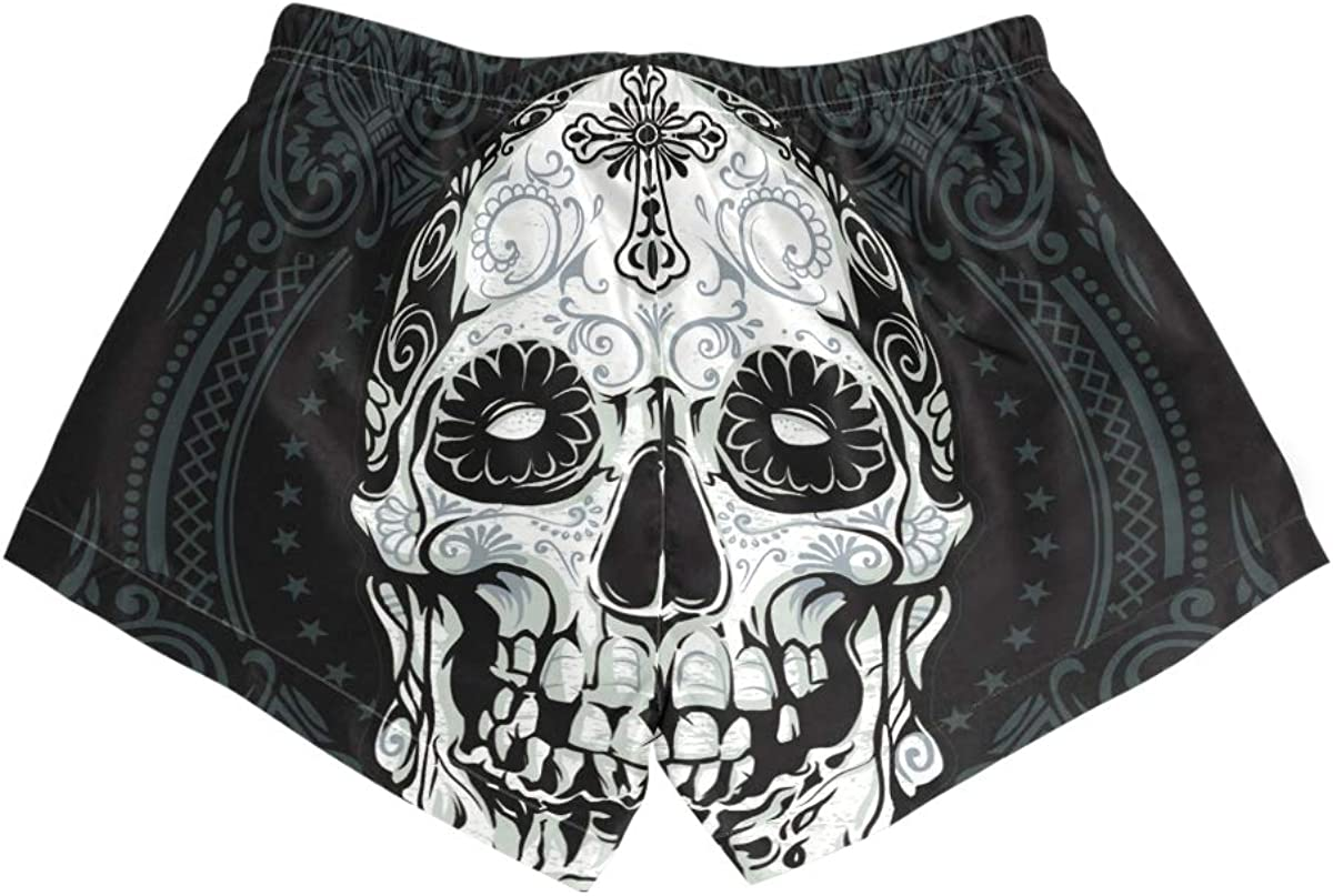 HEOEH Womens Suger Skull Blue Pattern Beach Shorts Pants Ladies Boardshort Swimming Trunks