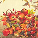 Ideal Home Range 20 Count Basket Of Apples Paper Cocktail Napkins, Cream