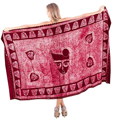 La Leela rayón playa de suave máscara hecha a mano pareo traje de baño cubre hasta 78x42 pulgadas envoltura Rojo De Cadmio