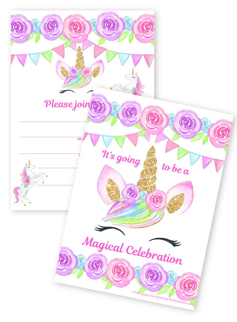 POP parties Magical Unicorn 20 LARGE Invitations - 20 Invitations + 20 Envelopes - DOUBLE SIDED - Unicorn Lashes by POP parties