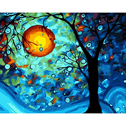 Faraway Van Gogh Dream Tree Oil Painting by Numbers Paint DIY Digital Coloring Wall Arts Pictures Room (Framed Canvas)