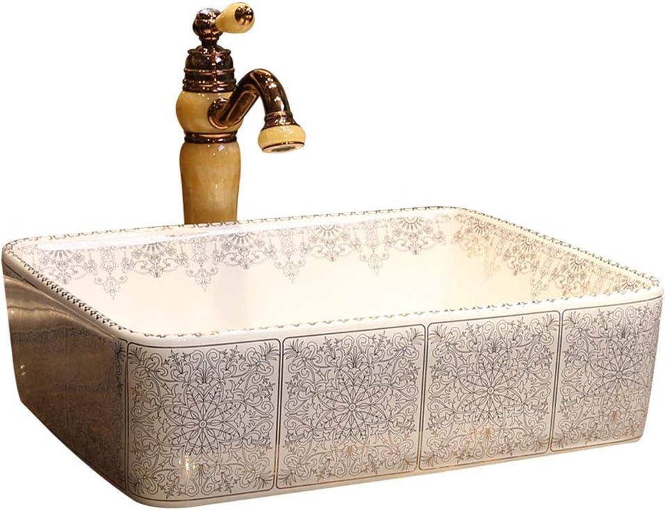 Lavabo de Estilo rococó de baño sobre el Lavabo de cerámica Rectangular de cerámica Lavabo de baño Americano Lavabo Americano Lavabos