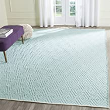 Safavieh MTK811H-8 Montauk Collection Handmade Flatweave Turquoise & Ivory Cotton Area Rug, 8' x 10'