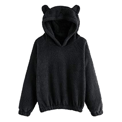 d8814bcc622 Dreamyth-Winter Women s Long Sleeve Fleece Sweatshirt Warm Bear Shape Fuzzy  Hoodie Pullover Outwear (