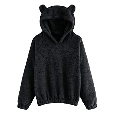 c5396a8b Womens Long Sleeve Cute Bear Ear Fuzzy Hoodie Sweatshirt Loose Pullover  Outwear Top