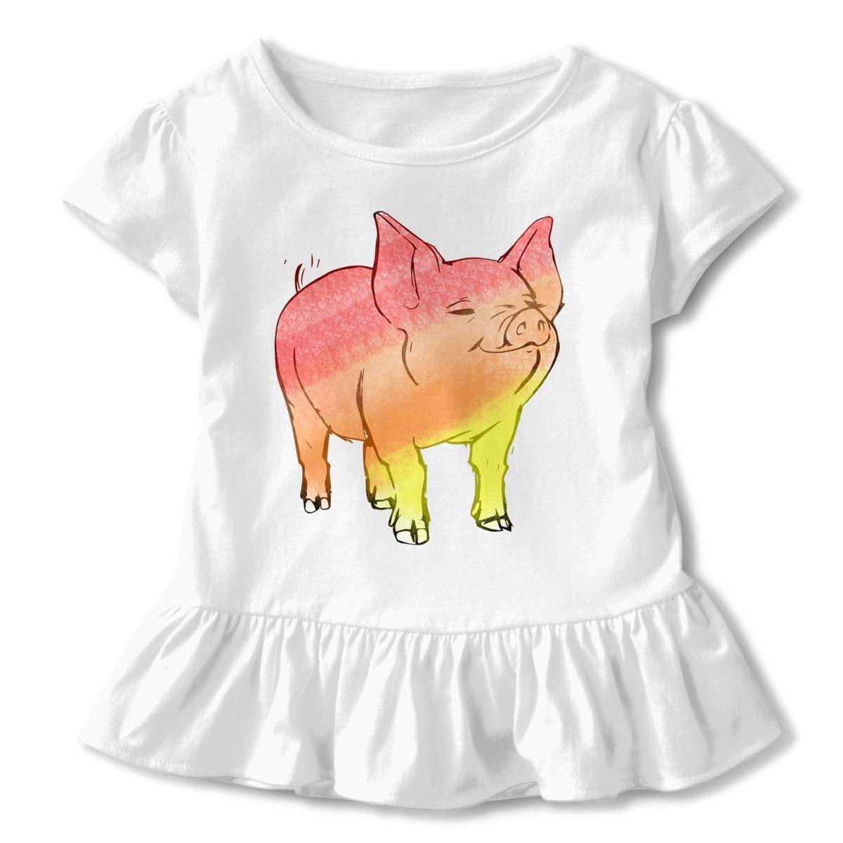 Watercolor Pig Tattoos Toddler Baby Girls Short Sleeve Ruffle T-Shirt