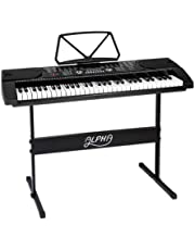 ALPHA 61 Keys Electronic Piano Keyboard Portable Digital Keybaord with 255 Tones Rhythms LED Electric Holder Music Stand Adaptor Power