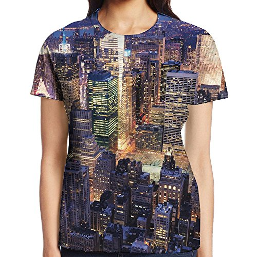 JeanCo Women's New York Aerial View Of NYC Full Of Skyscrapers Manhattan Times Square Famous Cityscape Vintage T Shirts White L (Customized Gift Baskets Nyc)