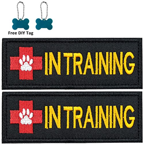 FAYOGOO IN TRAINING Dog Patch Embroidered Velcro Patches for Dog Vest Harness Jacket Saddle Bag Pouch Backpack, with Pet Dog Puppy Cat ID Tag, 2 Pieces, Black, Rectangle