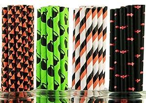Secret Life® Set of 100 Halloween BOO!!! Paper Drinking Straws Kit 100% Biodegradable- Wizard Potion Pot, Panpkin Flag, Orange & Black Stripes, Red Bat - Cake Pop Sticks, Party Supplies Kit, Mason Jar, Pumpkin Straw - Limited Time Only - Don't Miss Out !!!