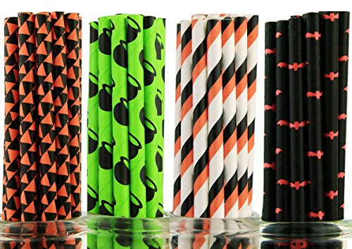 Secret Life® Set of 100 Halloween BOO!!! Paper Drinking Straws Kit 100% Biodegradable- Wizard Potion Pot, Panpkin Flag, Orange & Black Stripes, Red Bat - Cake Pop Sticks, Party Supplies (Halloween Cake Pops Pumpkin)