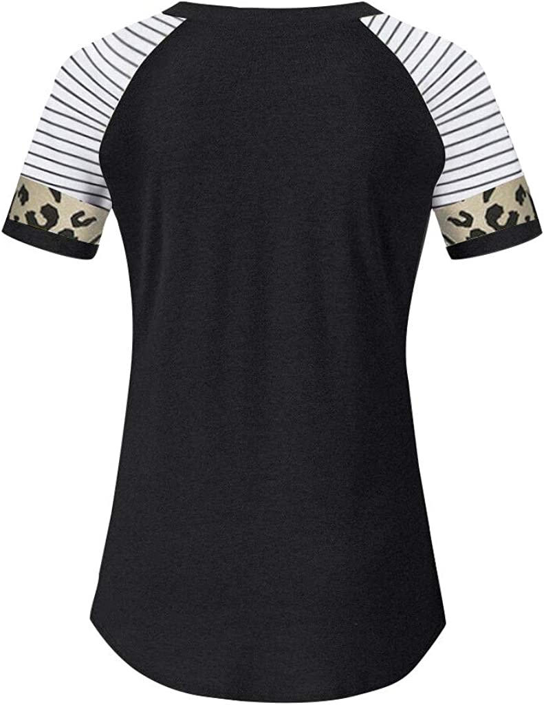 Womens Leopard Print Stripe Cotton Tunic Top Shirt Casual Tees Pullover Blouse T Shirt Vedolay Women Short Sleeve Tops
