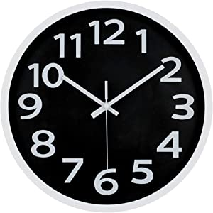 JoFomp 3D Number Wall Clock, 12 Inch Silent Non-Ticking Quartz Battery Operated Decorative Wall Clocks, Easy to Read Modern Simple Style Clock for Home, Office, Living Room (Black-3D Number)