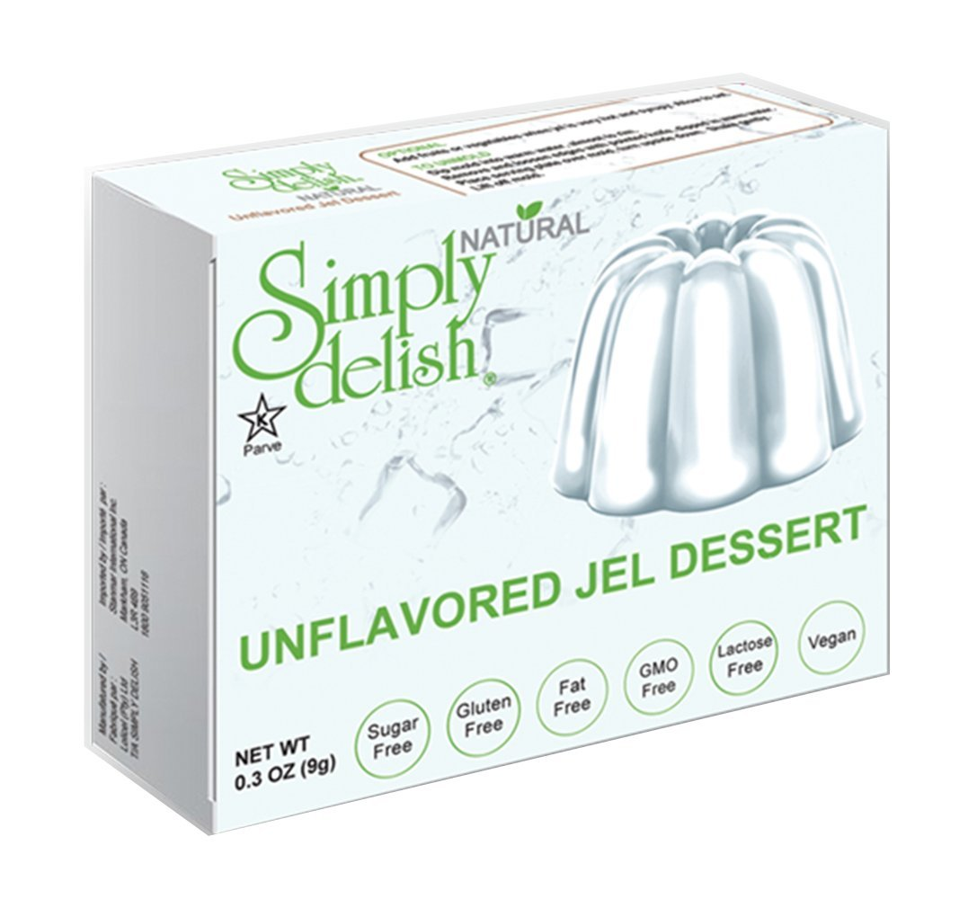 Simply delish Natural Unflavored Jel Dessert, Sugar free, 0.3 oz., 24-6 packs – Fat Free, Gluten Free, Lactose Free, Non GMO, Kosher, Halal, Dairy Free, Natural by Simply Delish
