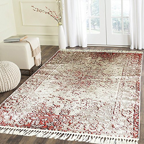 - Home Must Haves White Red Faux Silky Traditional Persian Oriental High Density Luxury Super Soft Flat Weave Large Area Rug Carpet for Any Living Room Bedroom Kitchen (6' x 9')