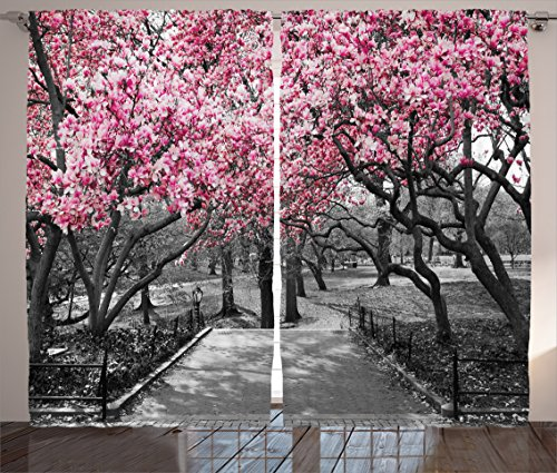 Ambesonne NYC Decor Collection, Blossoms In Central Park Cherry Bloom Trees Forest Spring Springtime Landscape Picture, Living Room Bedroom Curtain 2 Panels Set, 108 X 84 Inches, Pink Gray (On With Them Kitchen Curtains Cherries)