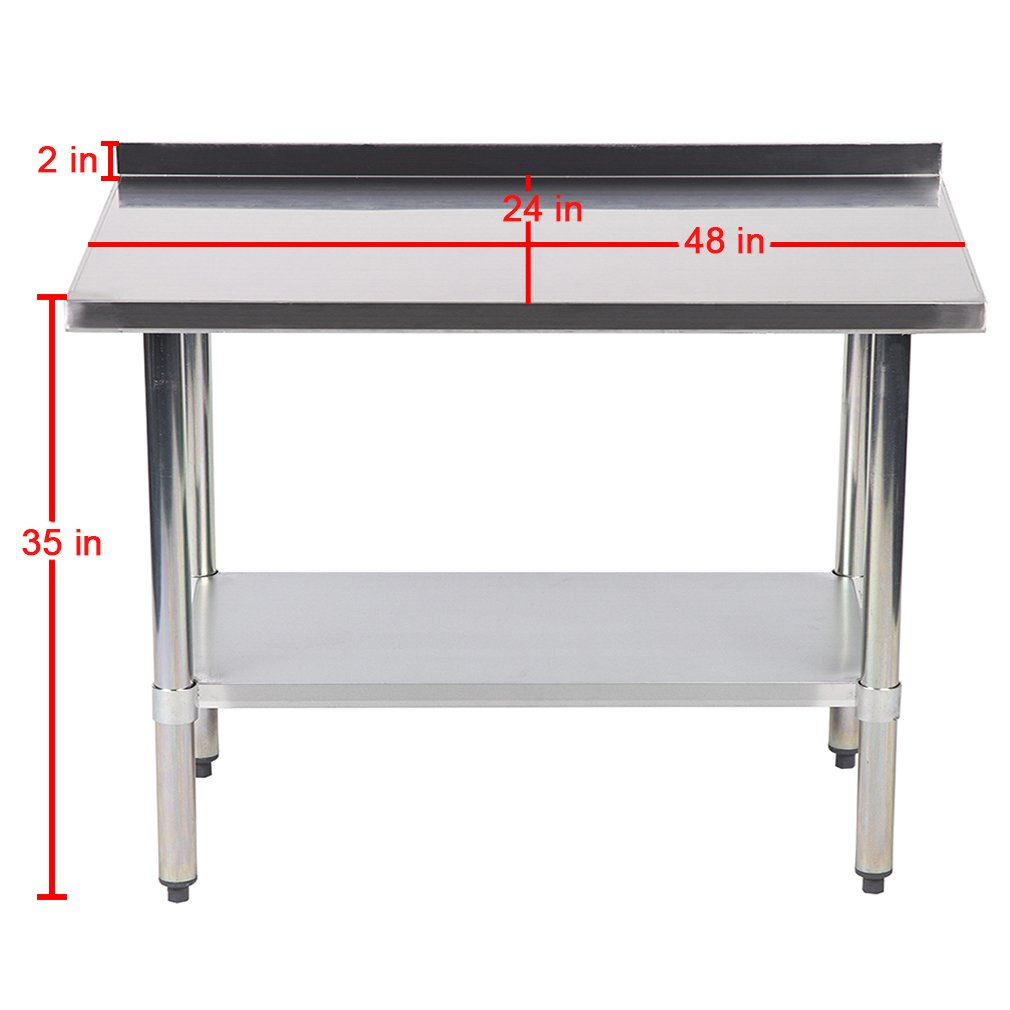 24''x48'' Stainless Steel Work Table with Backsplash Kitchen Restaurant Table EB by BestMassage (Image #2)